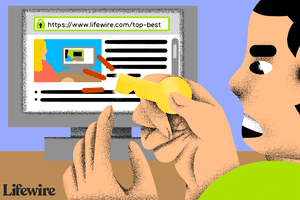 Illustration of a person trying to put a key in a computer showing a website