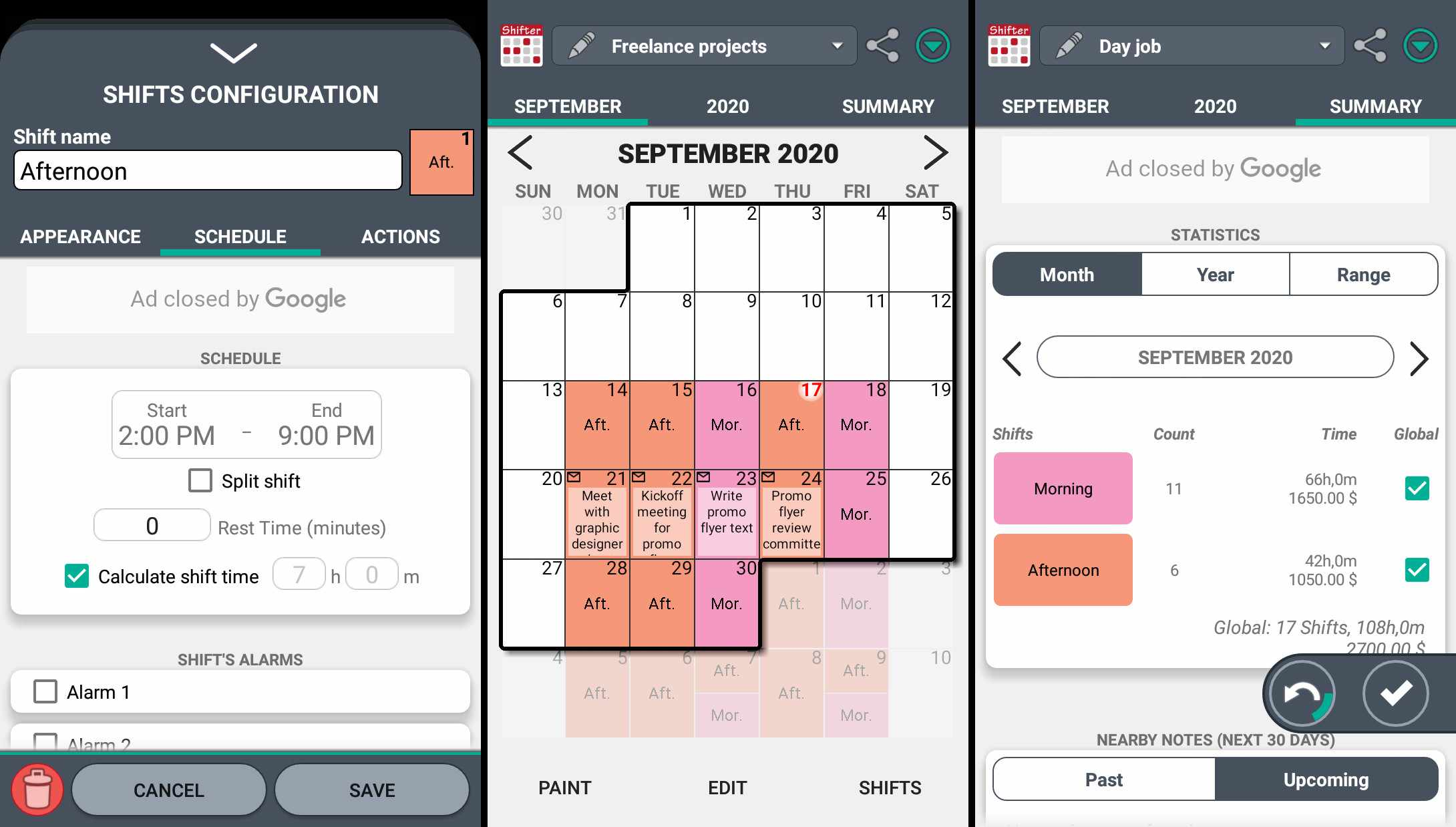 Use Shifter to set up shifts, view schedules, and display work and income summaries