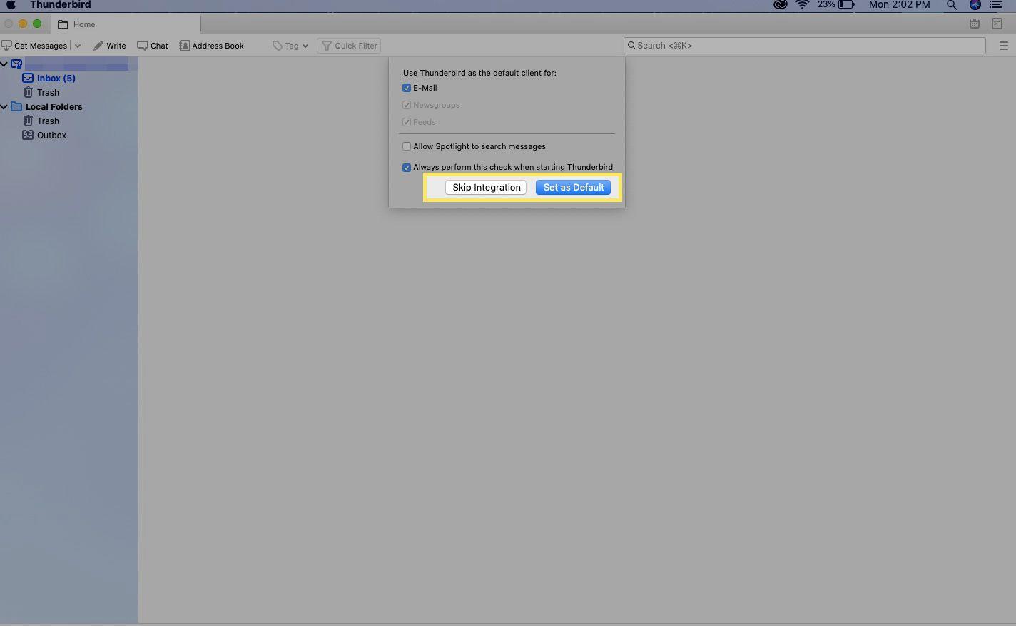 Select Set as Default or Skip Integration