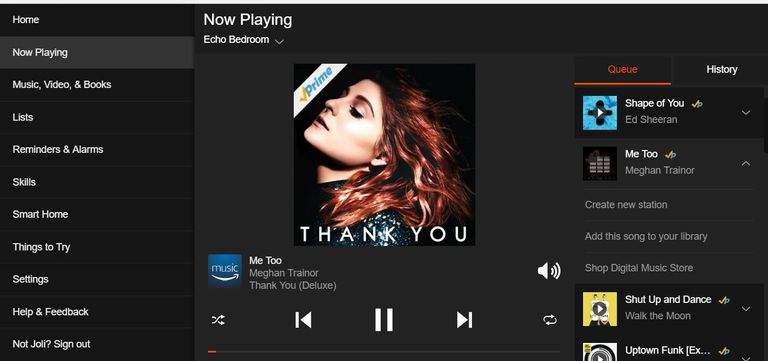 A picture of the Amazon Prime Music app showing what's playing on an Echo device.