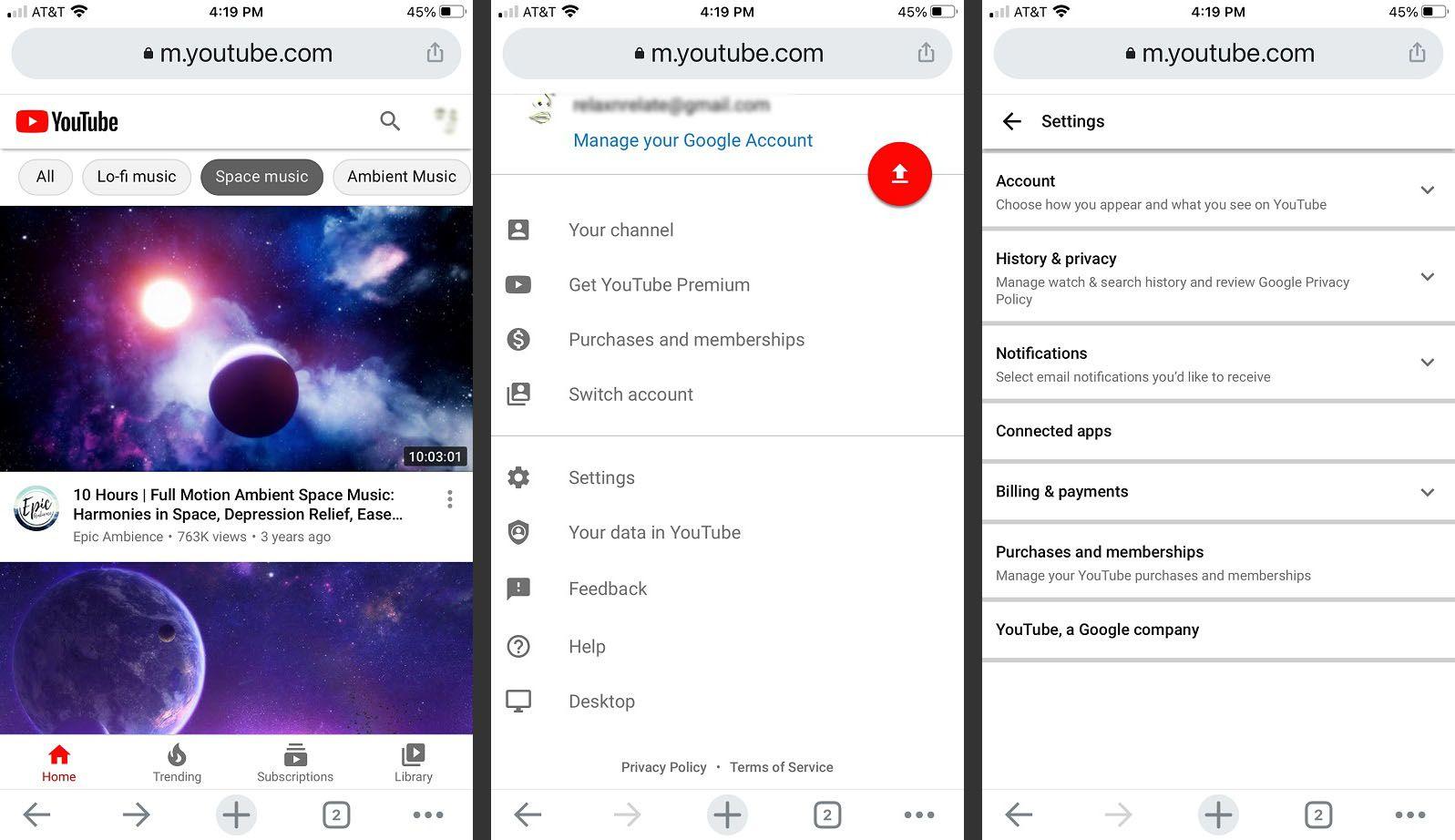 YouTube mobile website - Settings