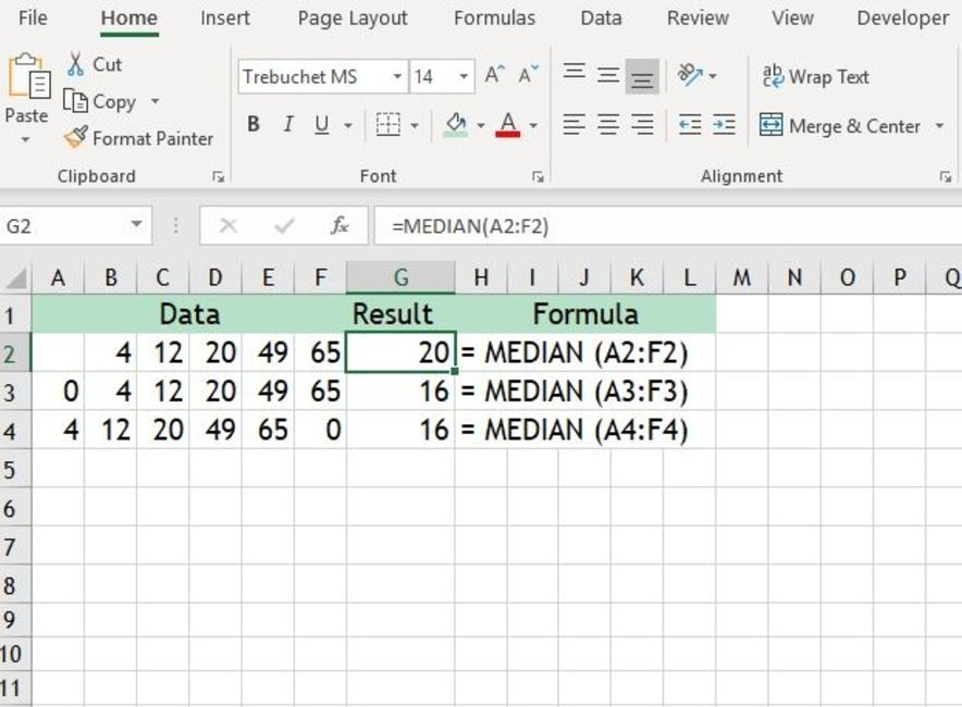 Excel MEDIAN Function Example