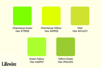 Chartreuse color swatches with hex numbers