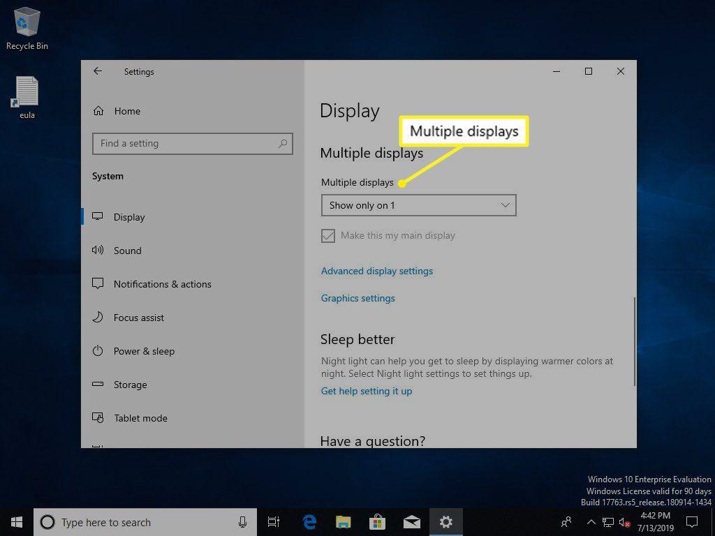 Windows 10 multiple display settings