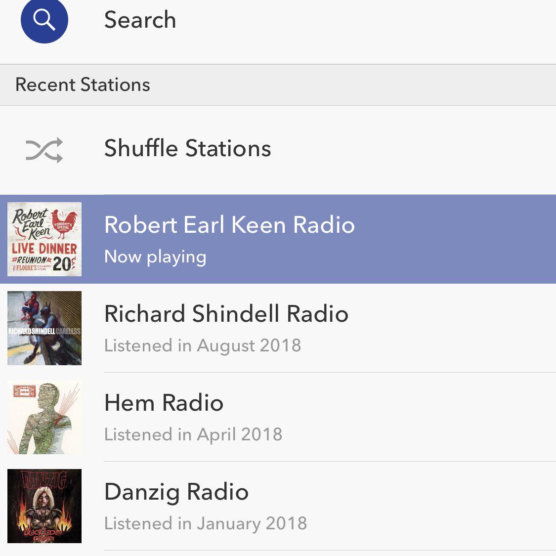 screenshot of Pandora app