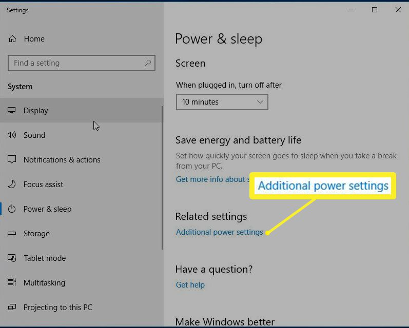 Windows 10 Additional power settings