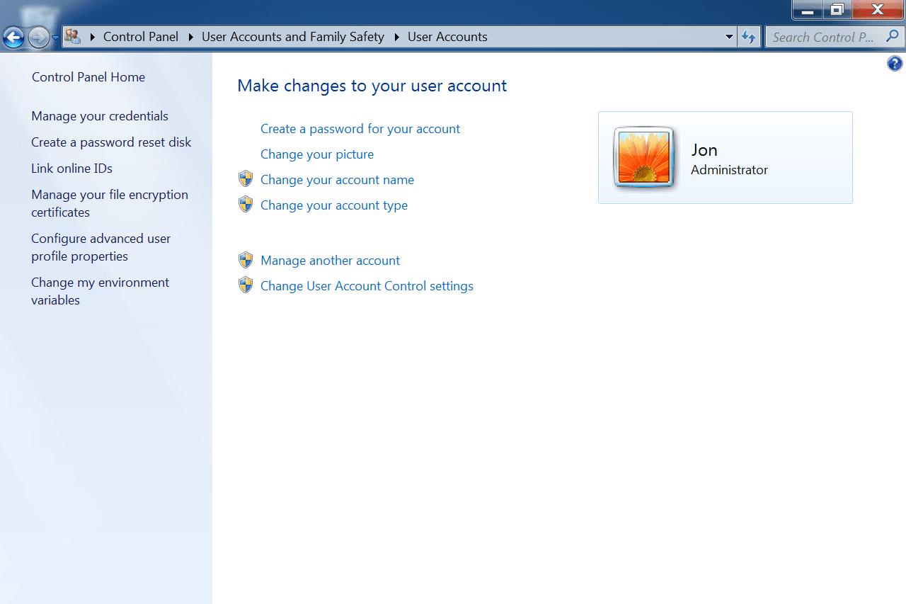 Windows 7 User Accounts screen in Control Panel