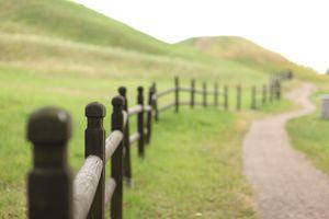Fence running along hillside