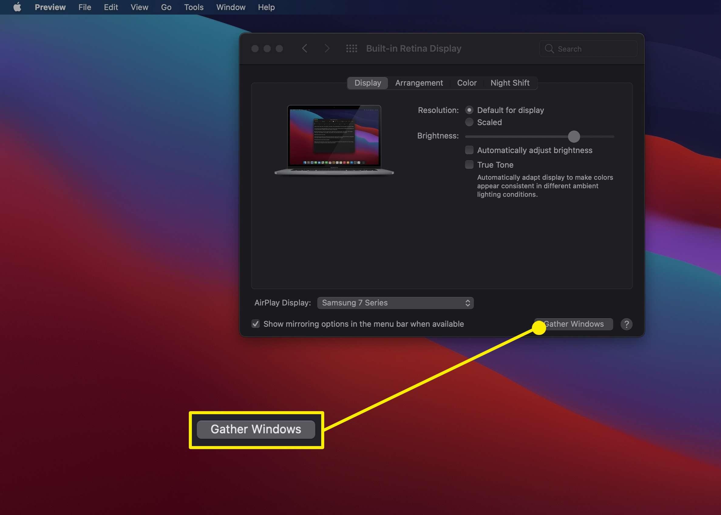 The Gather Windows option in a MacBook's Display Settings menu.