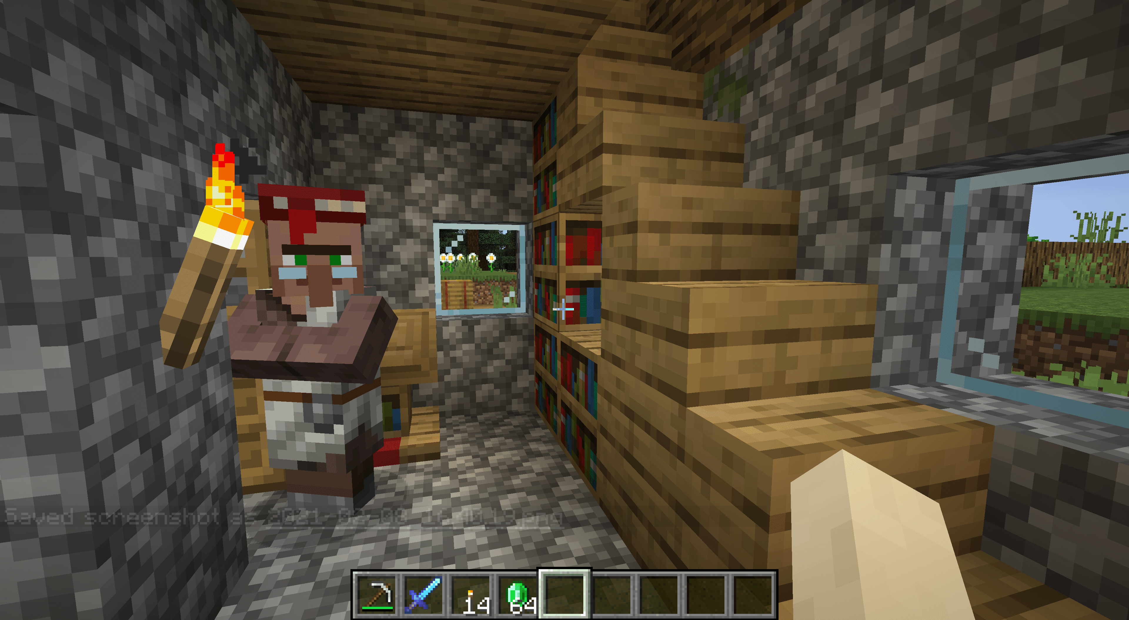 A librarian in Minecraft.