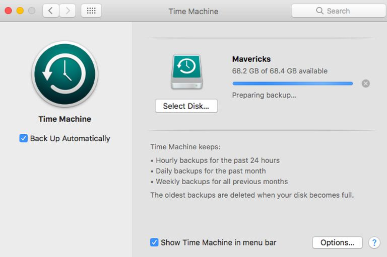 Time Machine Preparing for backup