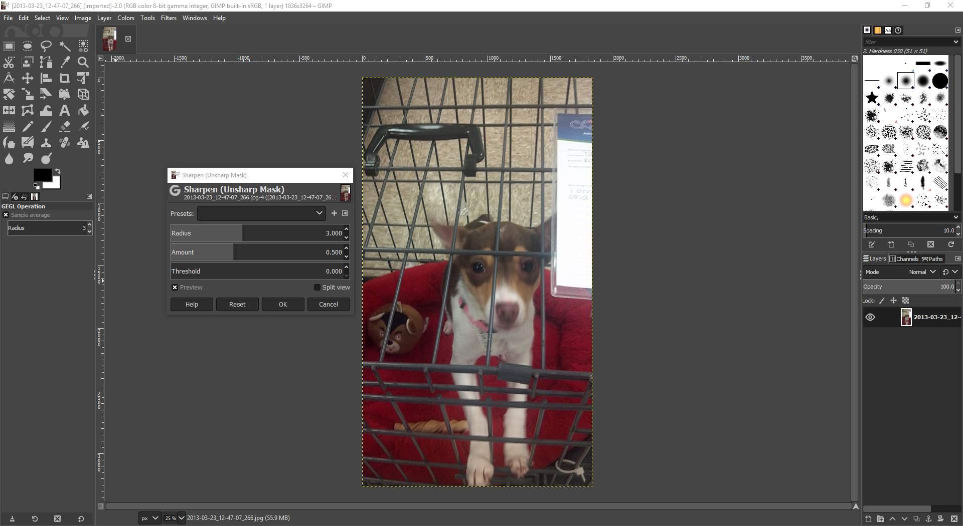 GIMP displaying the sharpen dialog screen.