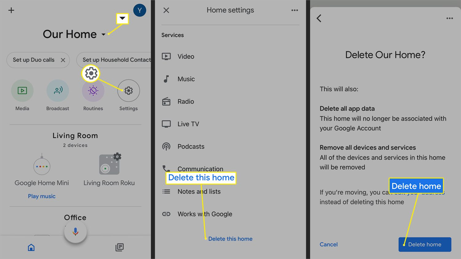 Steps for deleting an entire Home from the Google Home app
