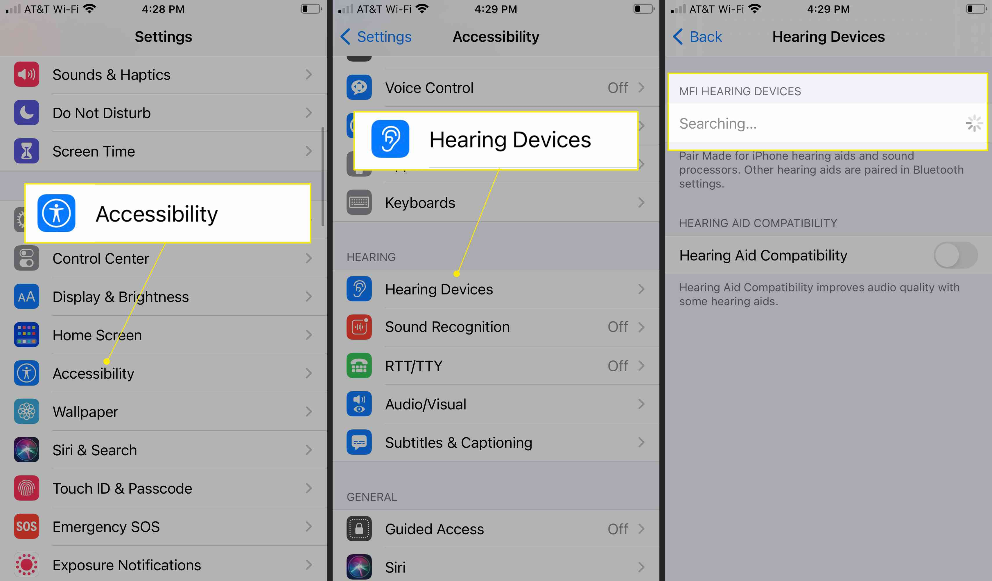 iPhone Settings with Accessibility, Hearing Devices, and MFI Hearing Devices highlighted
