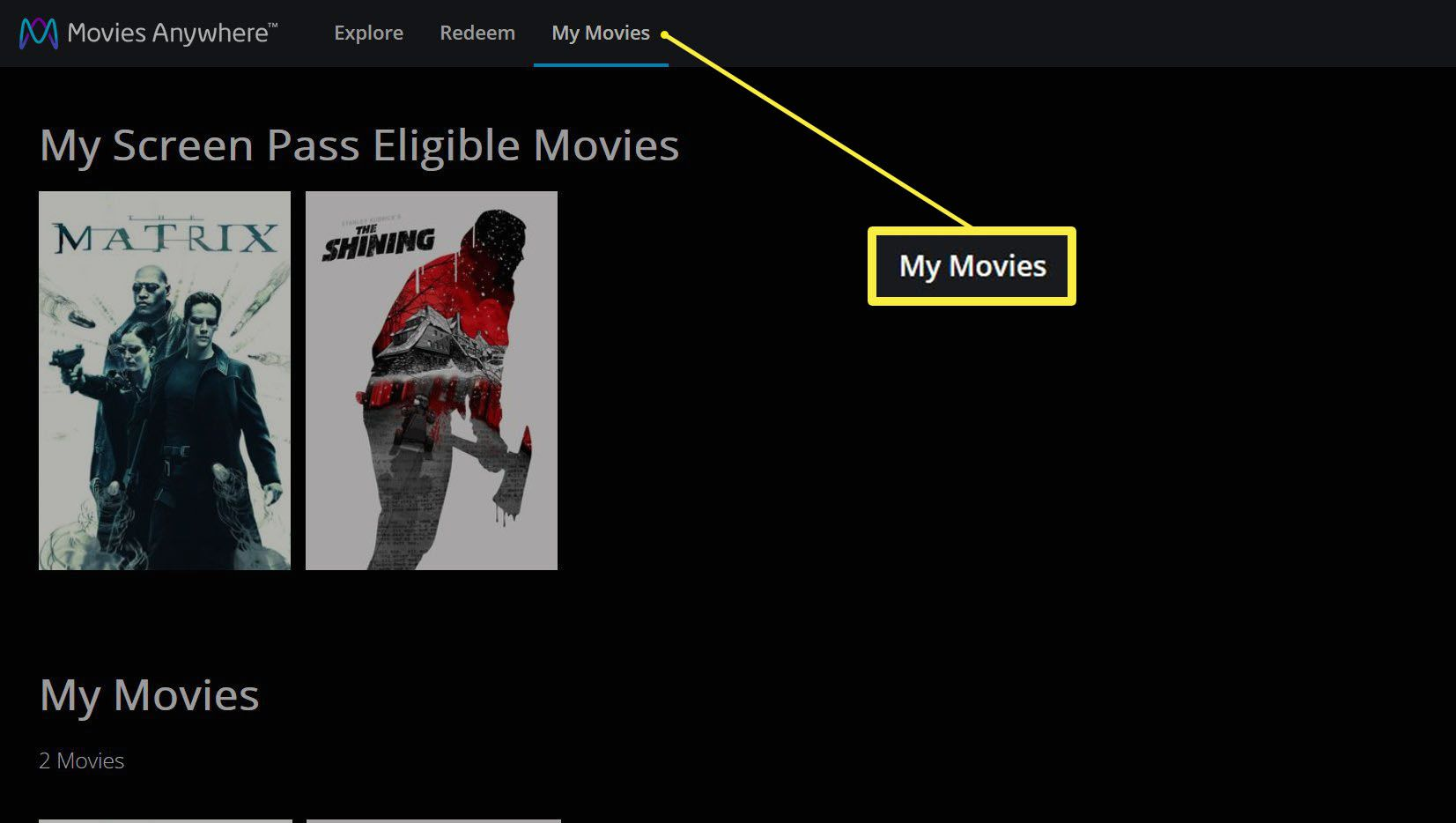 The Movies Anywhere site with the My Movies button highlighted.
