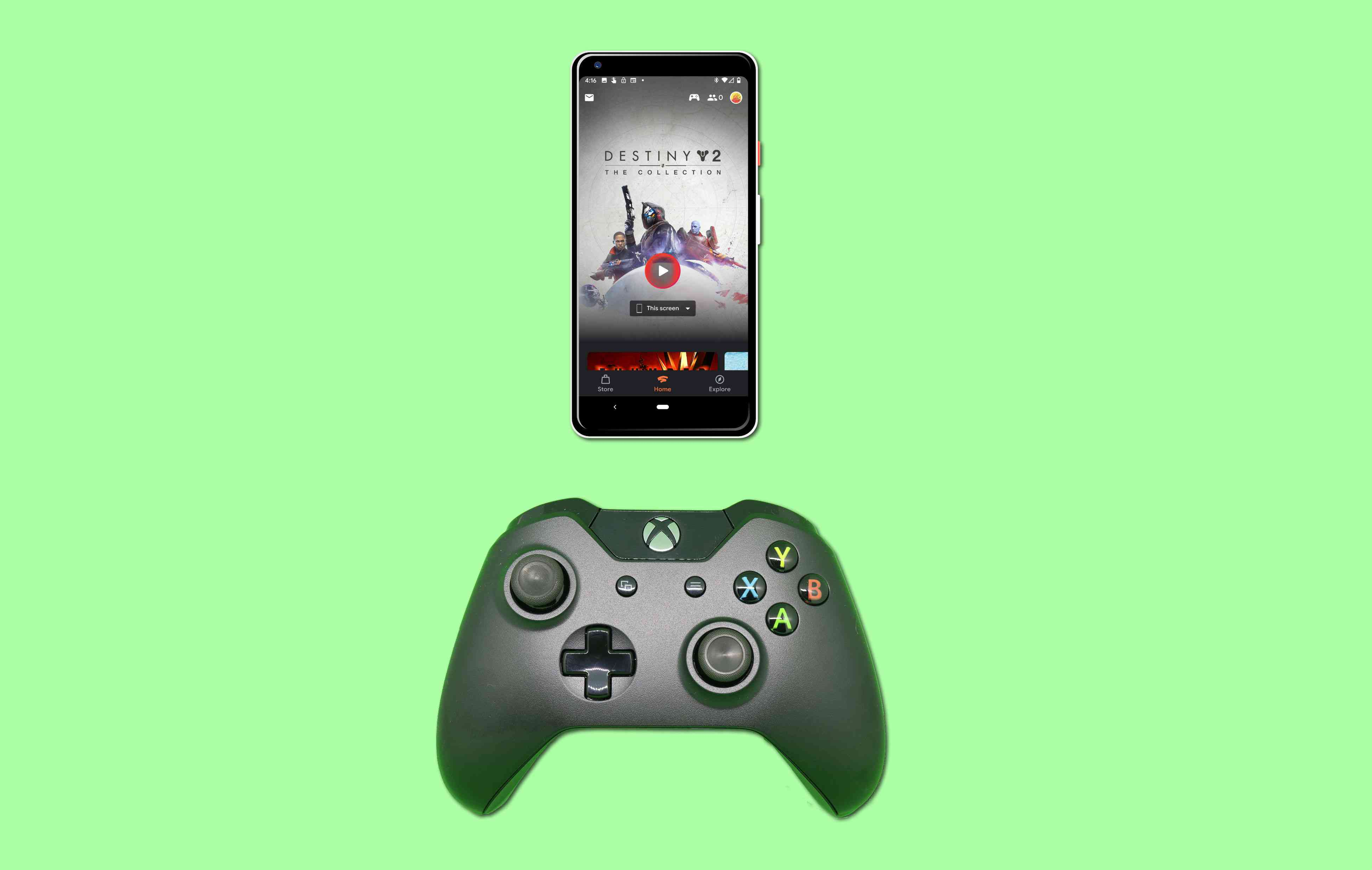 Google Stadia played on a Pixel phone with an Xbox One controller.