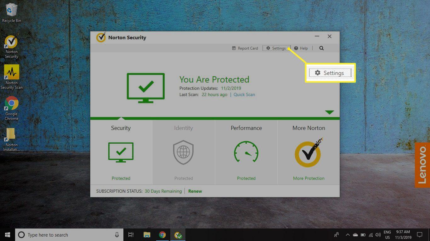 Norton Security Settings