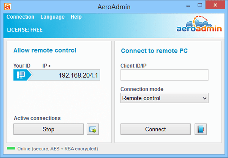 AeroAdmin v4.0 in Windows 8
