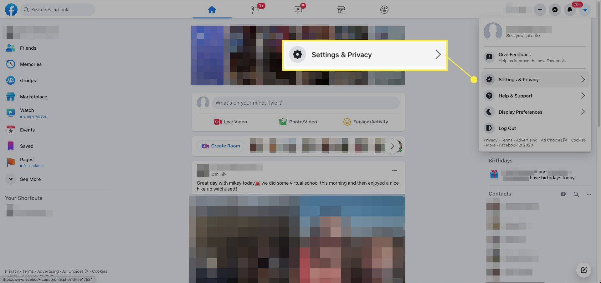 Settings and Privacy highlighted in Facebook profile