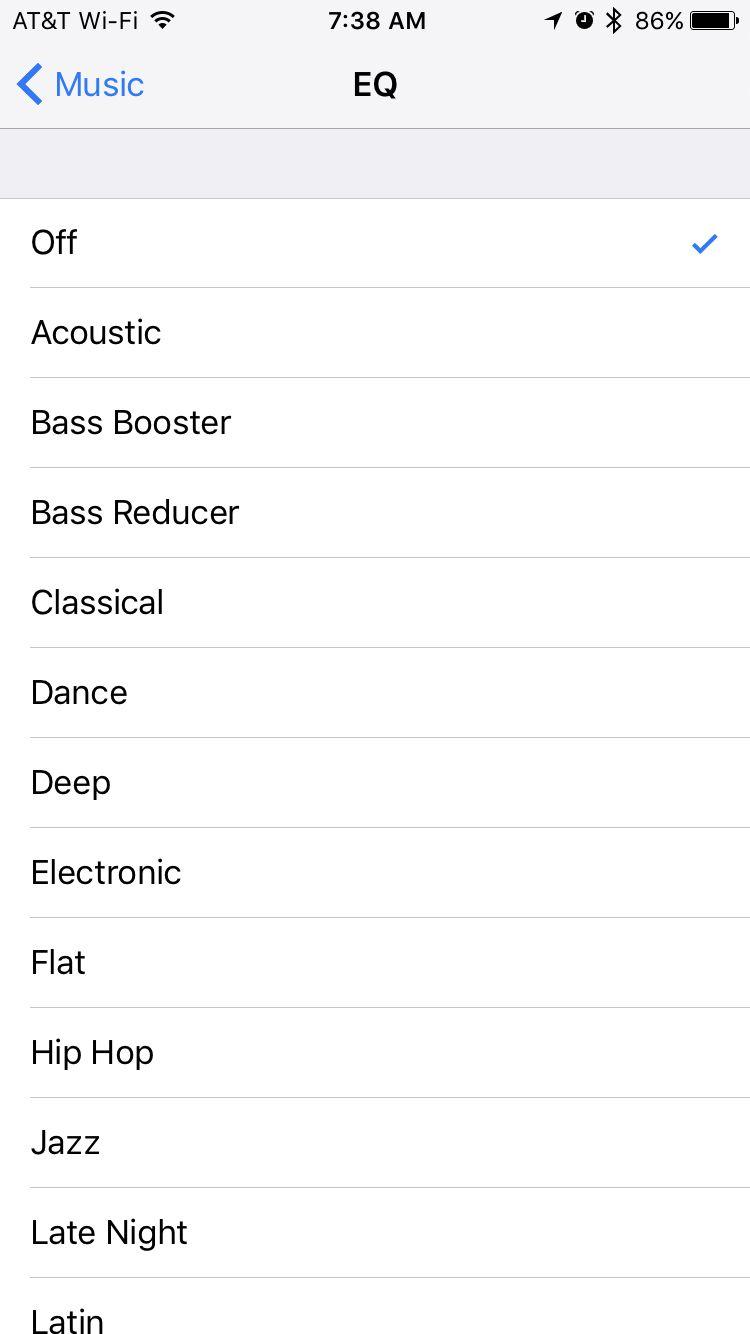 music eq settings on iPhone