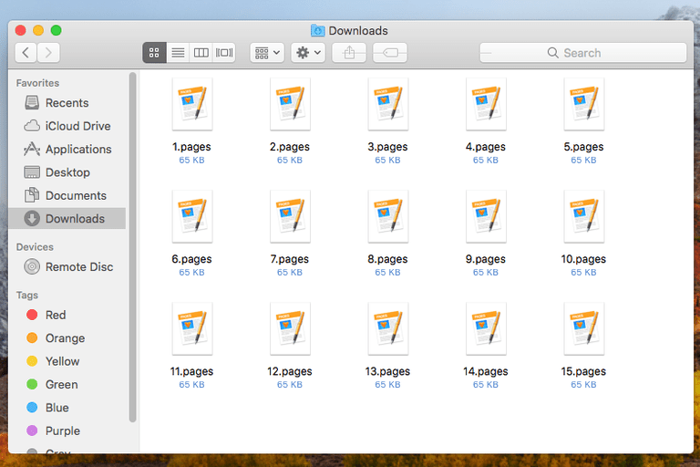 Screenshot of several PAGES files in macOS High Sierra