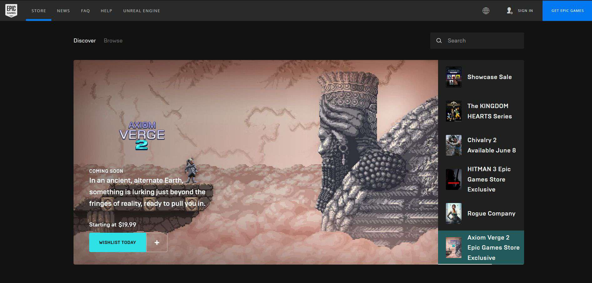 A screenshot of the Epic Games website.