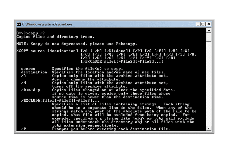 Screenshot of the xcopy help command in a Windows Vista Command Prompt