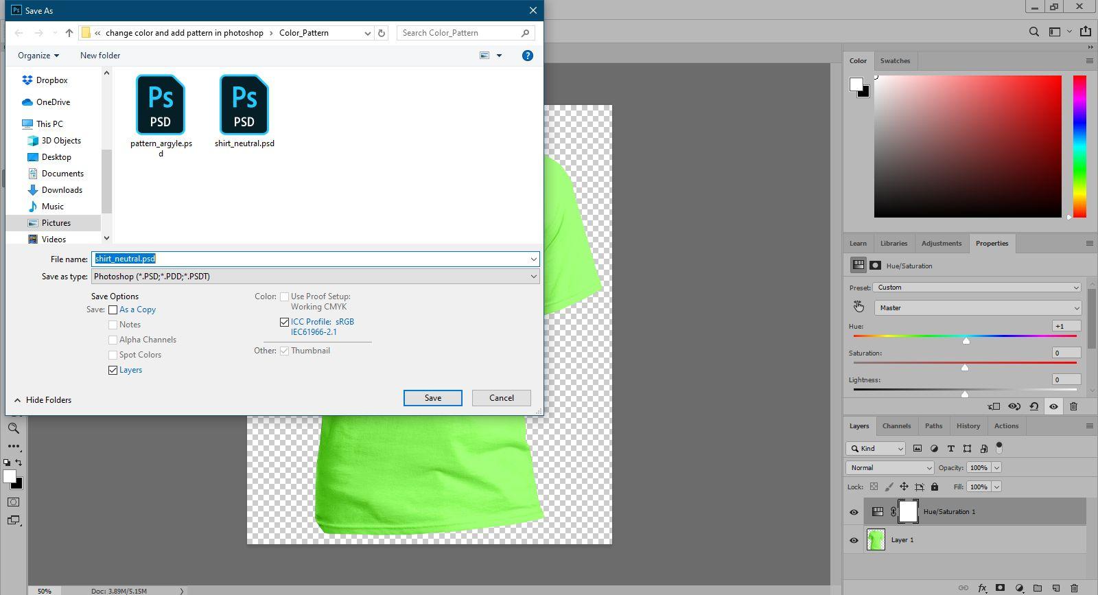 Saving the tshirt image in Photoshop.