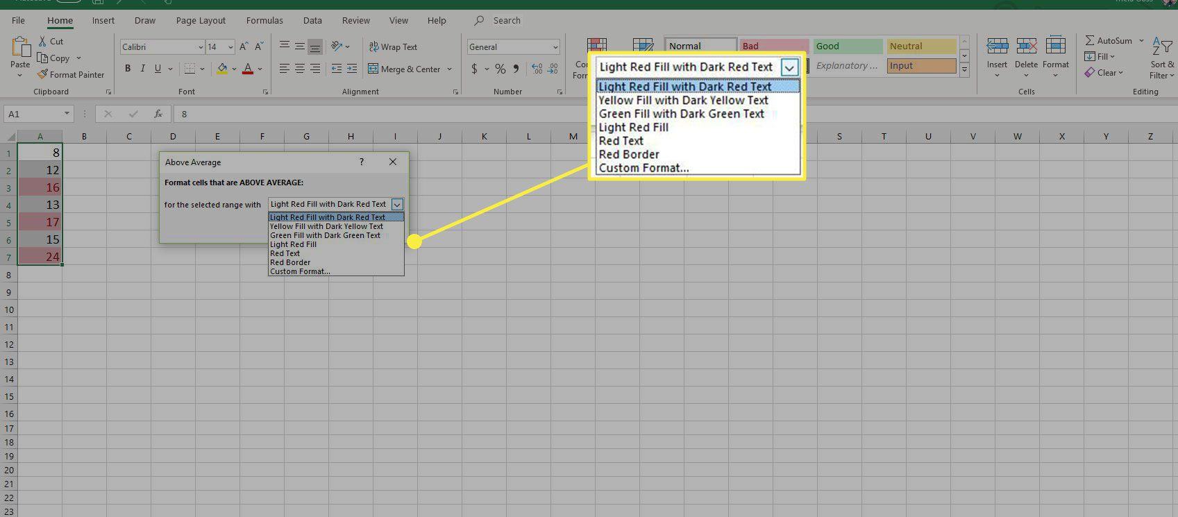 A screenshot of Excel with the Conditional Formatting options highlighted