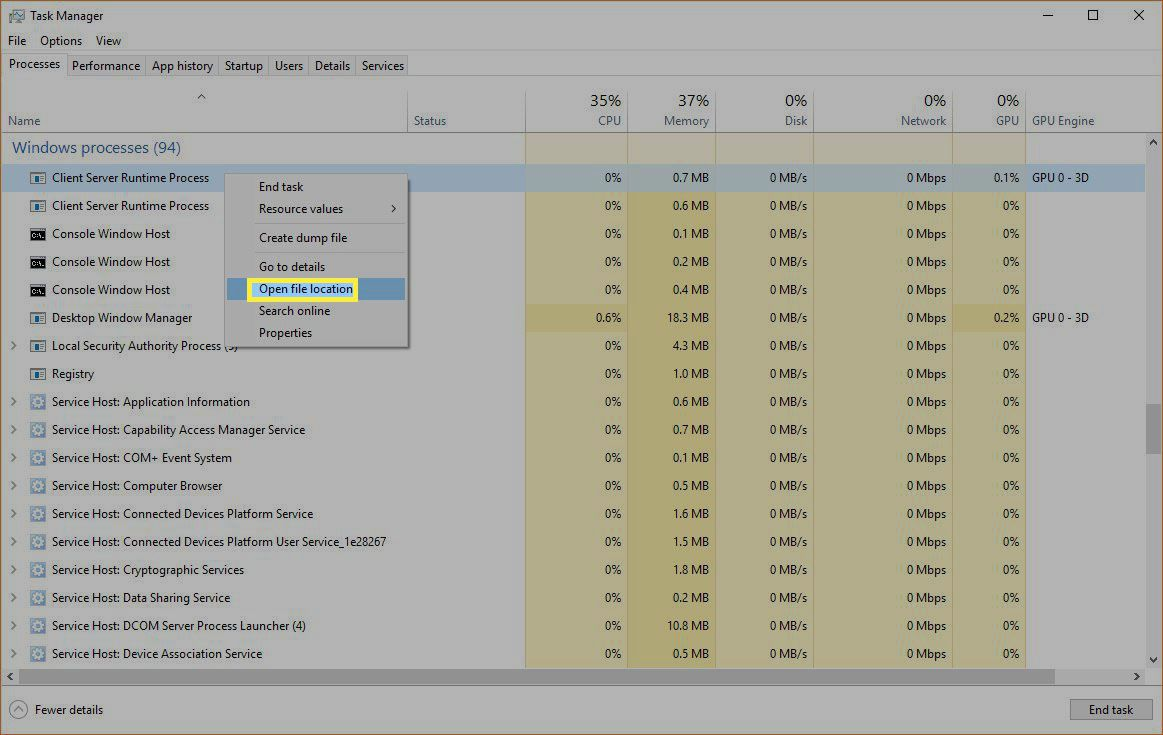 Windows Task Manager highlighting Open file location.