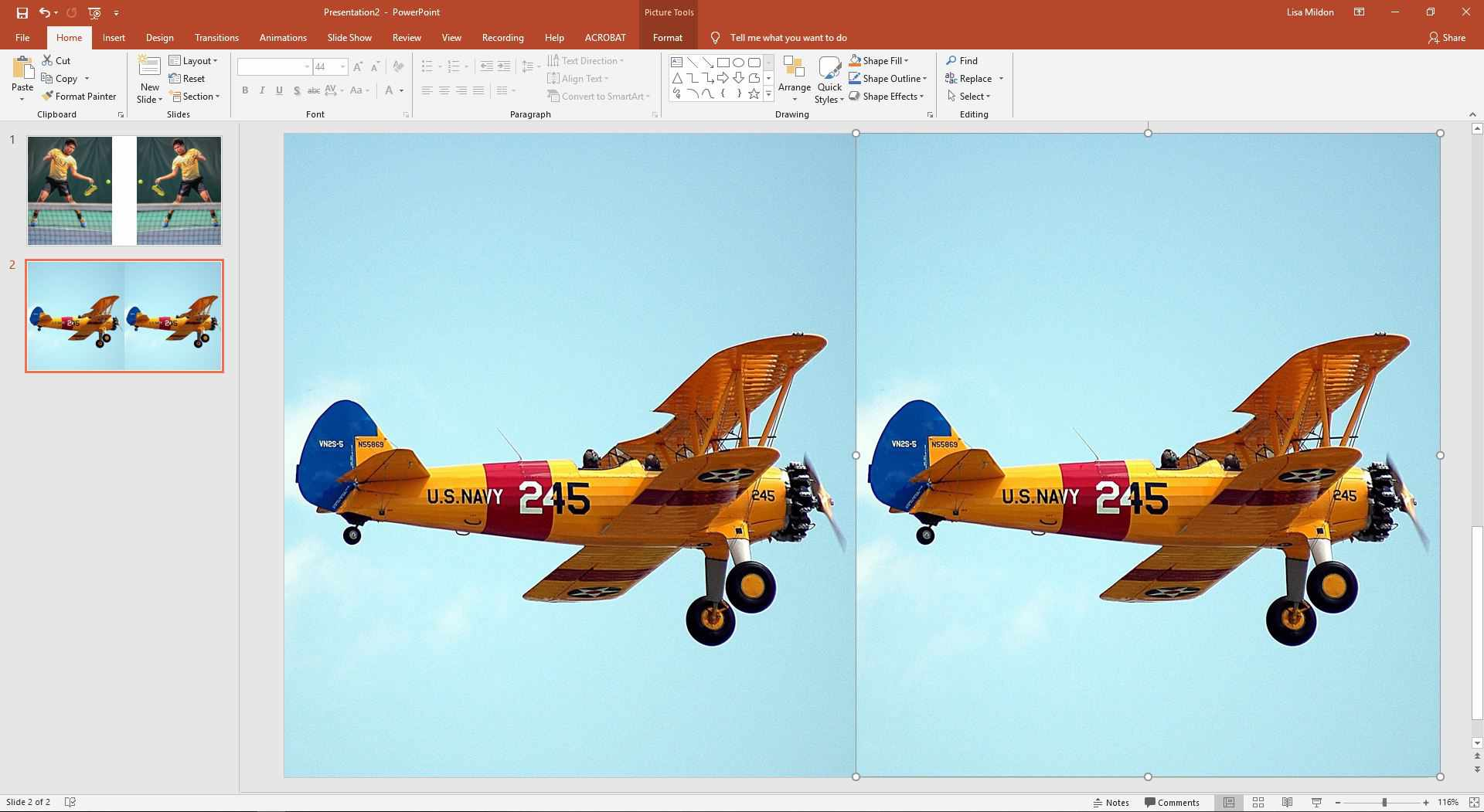 PowerPoint slide showing two airplanes.