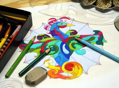 colored pencils and coloring image