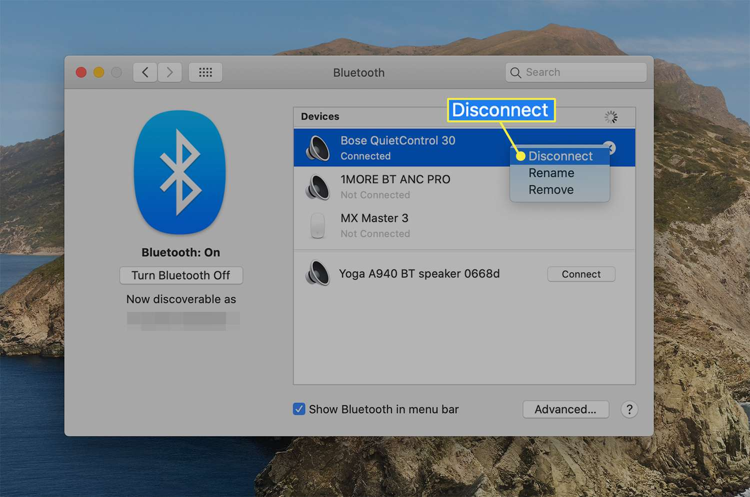 Disconnect option from a connected Bluetooth device on macOS
