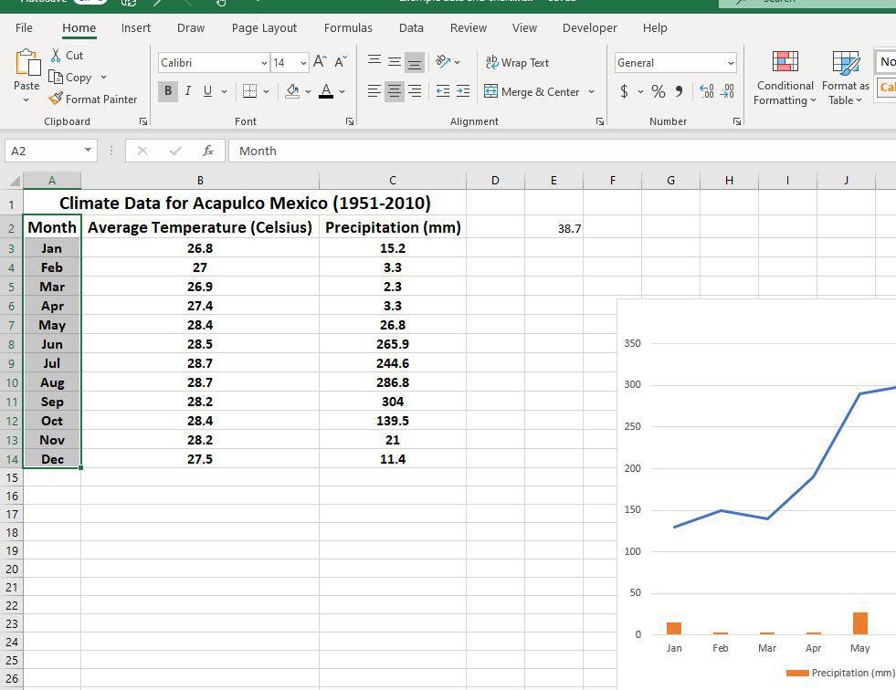 Selected cells in Excel worksheet
