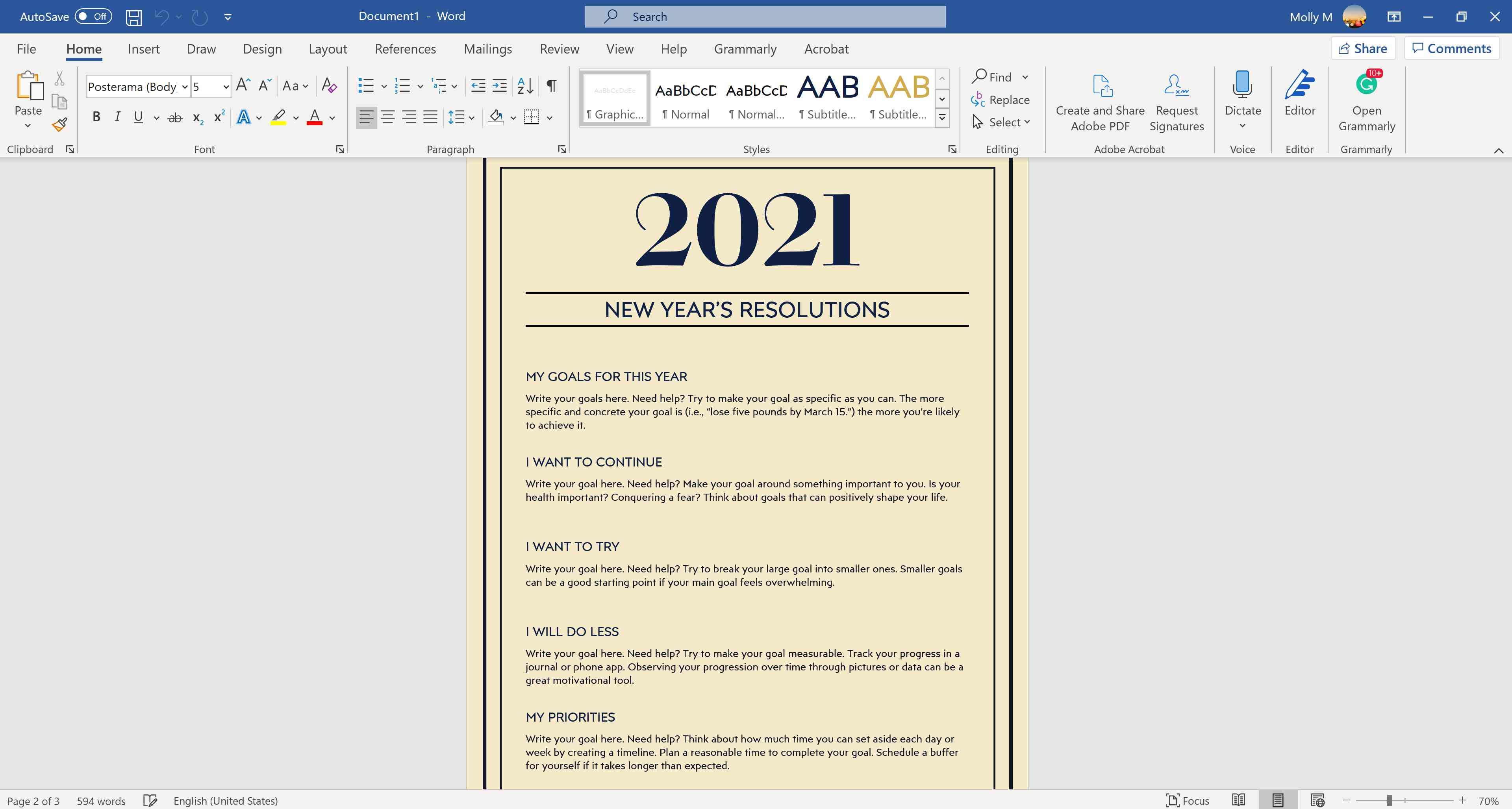 New Year's resolutions worksheet.