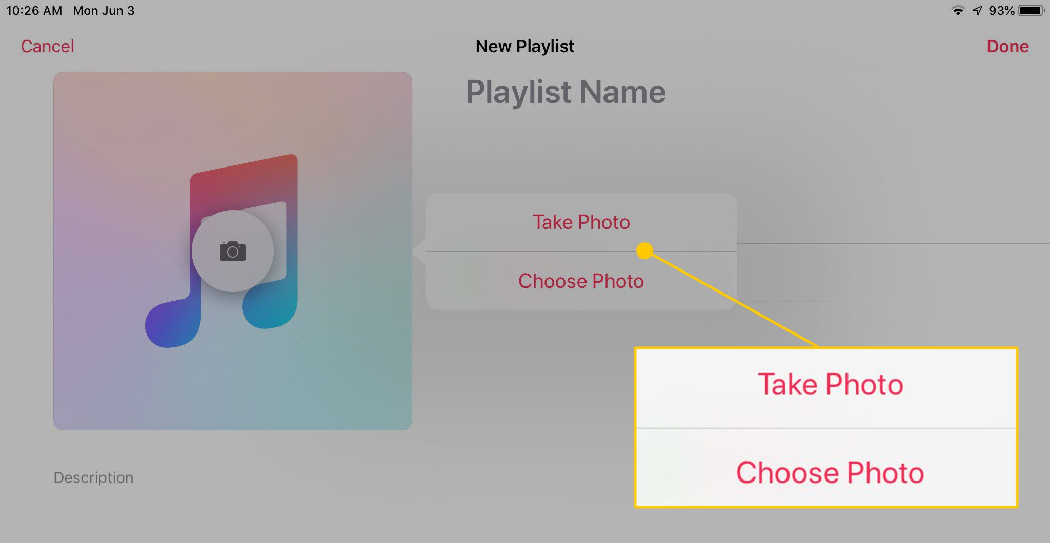 Take or Choose Photo for Playlist in Music app