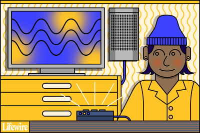 Illustration of a person standing in front of a TV with a Bluetooth adapter in the foreground