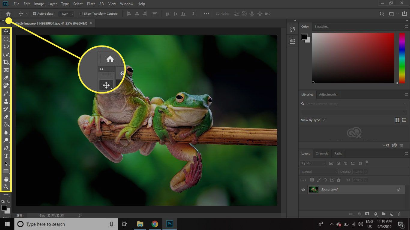 A screenshot of Photoshop with the Toolbar and the expansion arrow highlighted