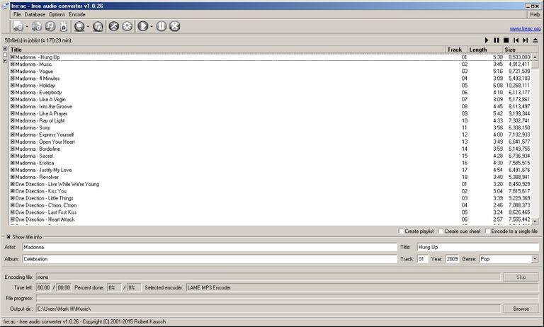 Main screen in Free:AC Audio Converter