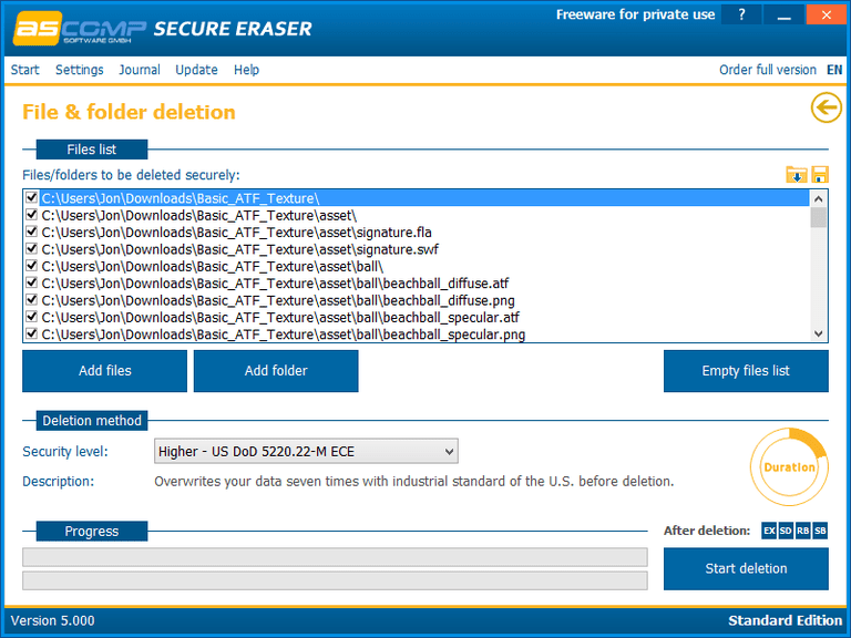 Screenshot of Secure Eraser v5.000 in Windows 8