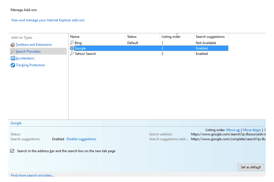 Manage Add-ons screen in Internet Explorer