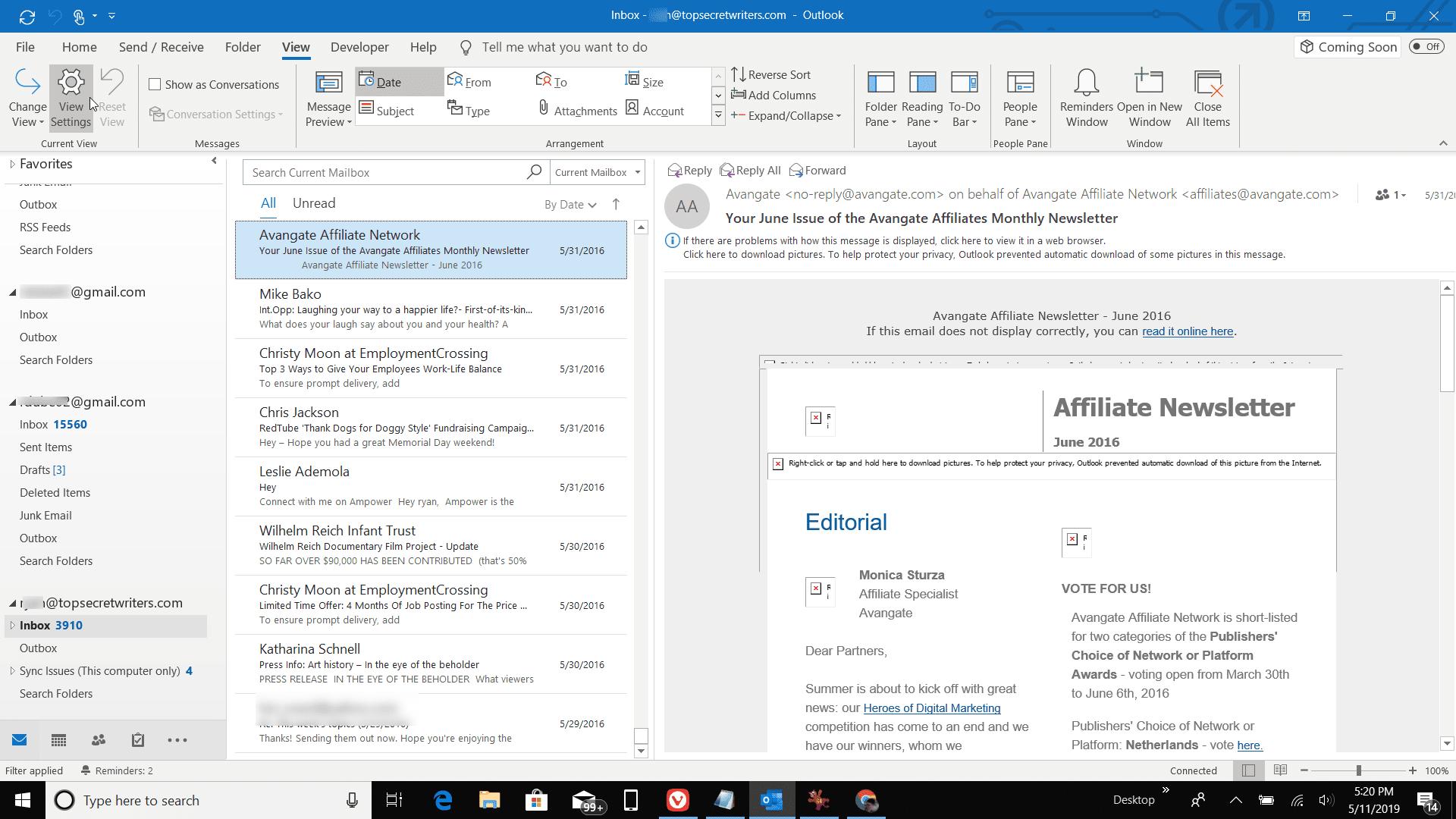 Screenshot of View Settings in Outlook