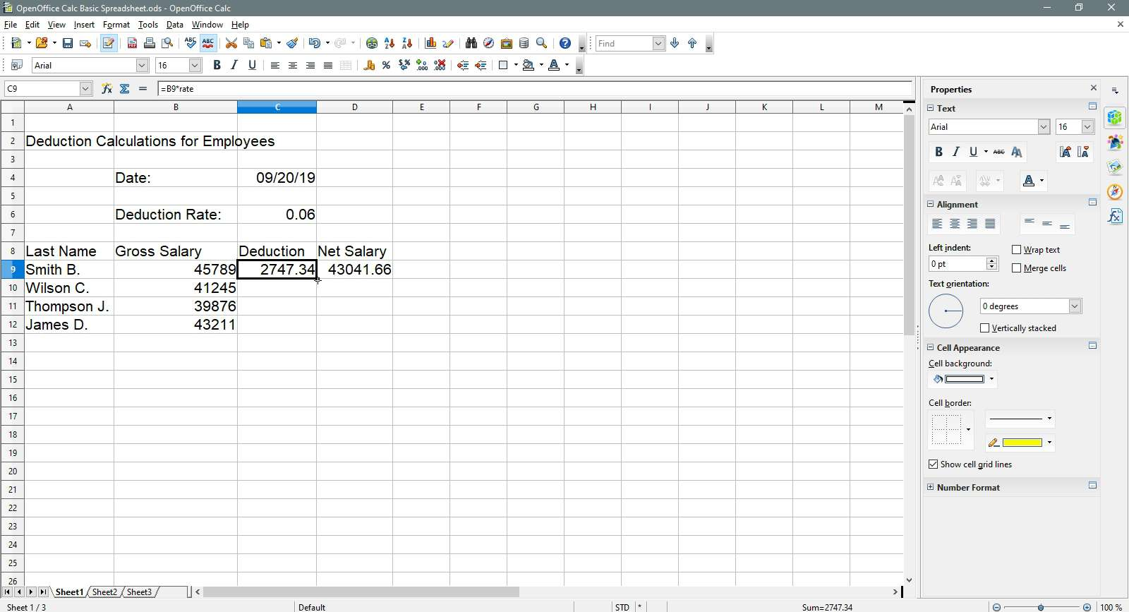 Selecting a cell to copy in OpenOffice Calc.