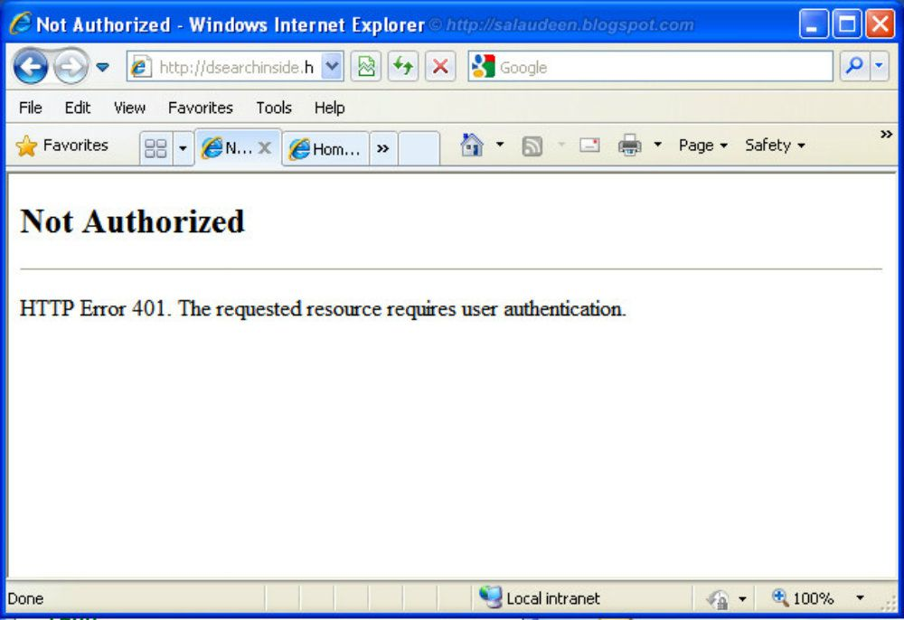 "HTTP 401 ""Unauthorized"""