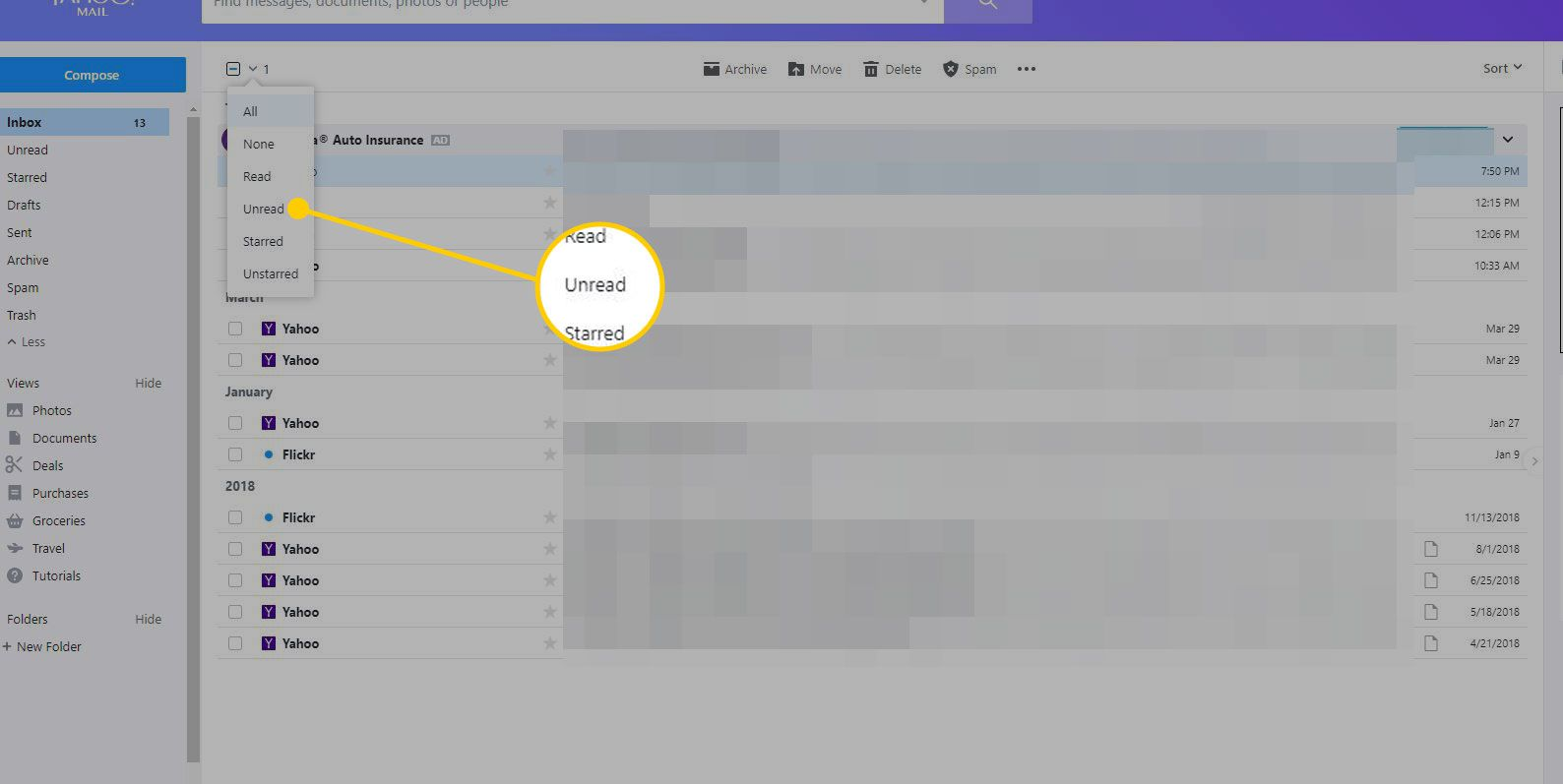 How to Mark a Message Unread in Yahoo! Mail