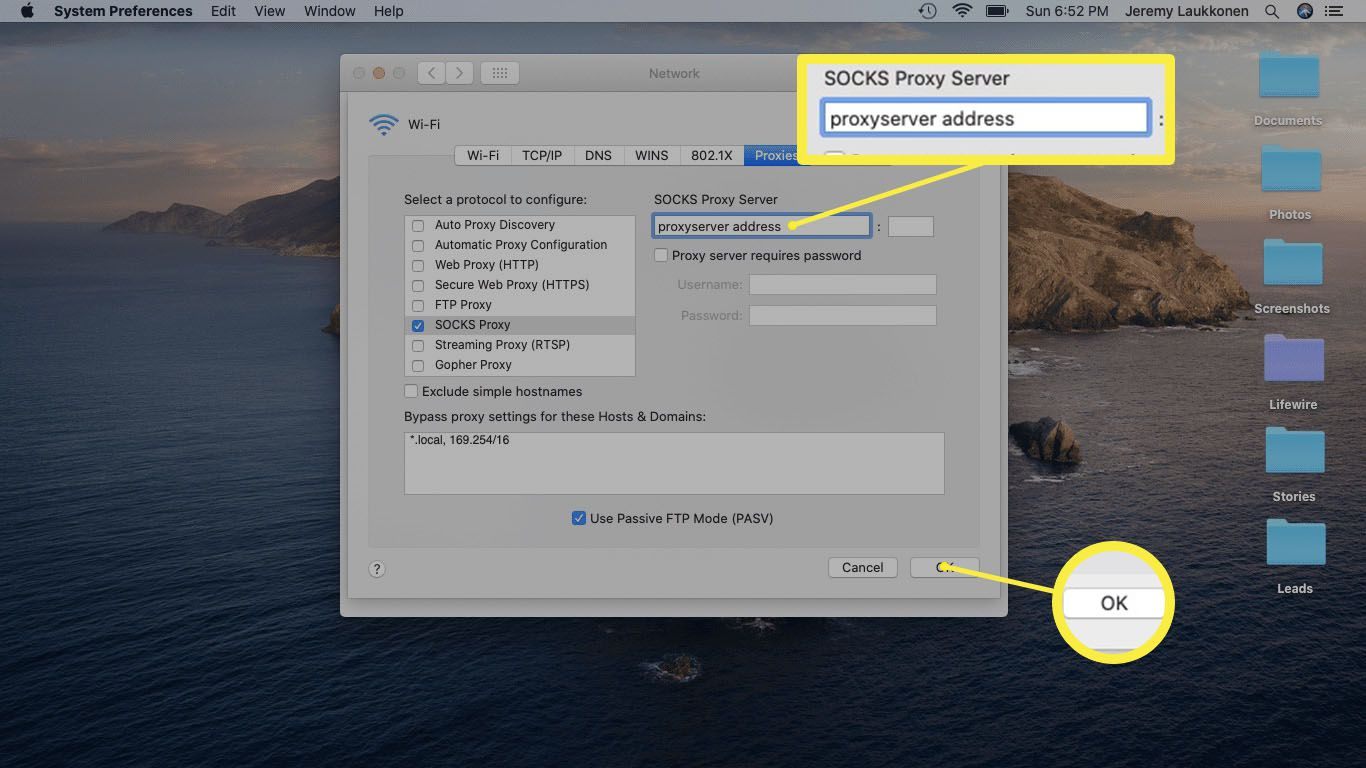 A screenshot of a proxy on a Mac.