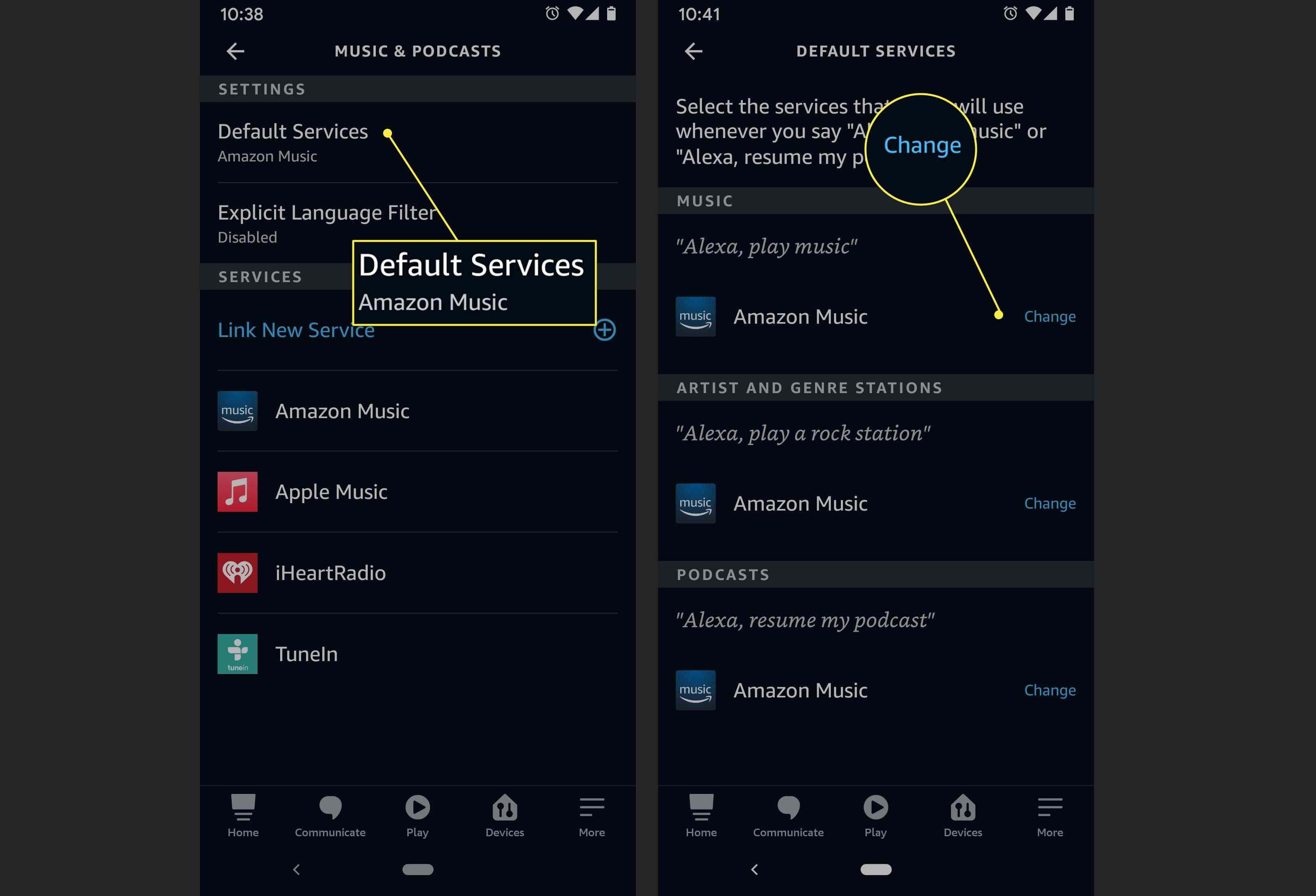 An Alexa app user changes their default music service