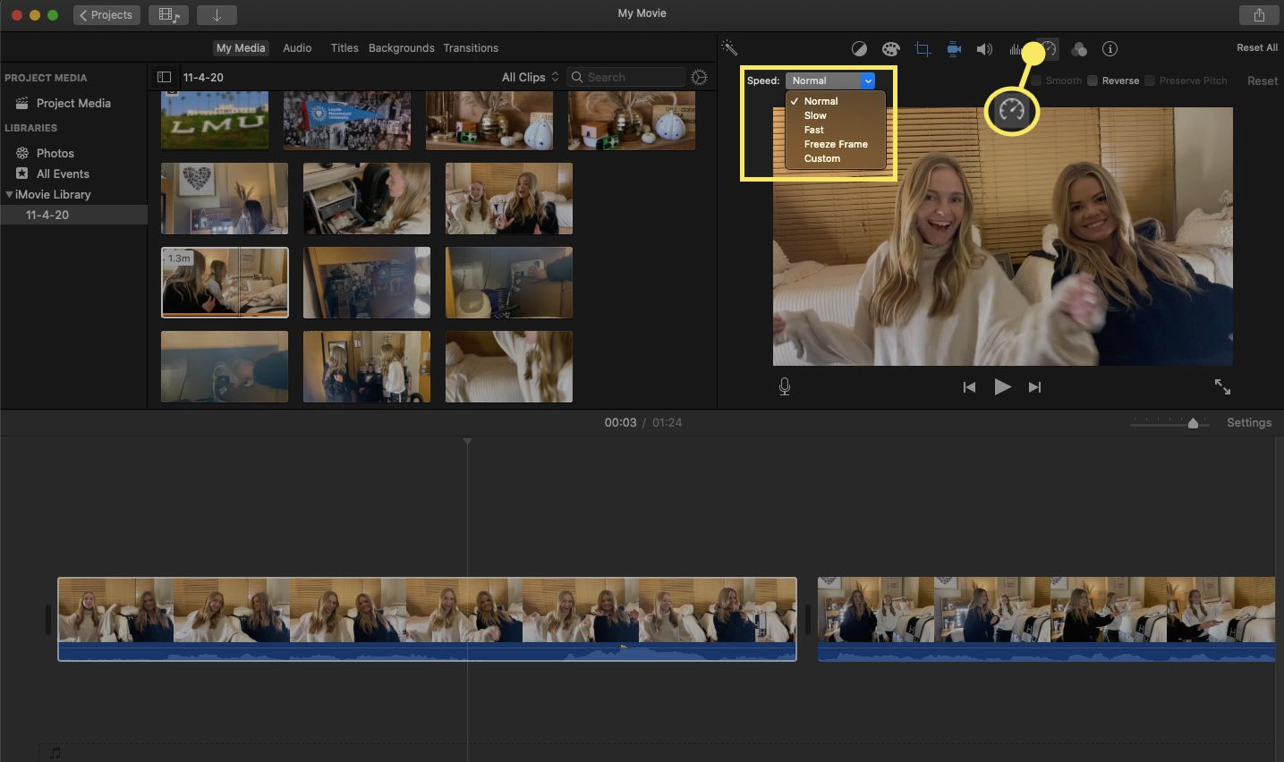 Select Speed to adjust the speed options for your video clip or clips.