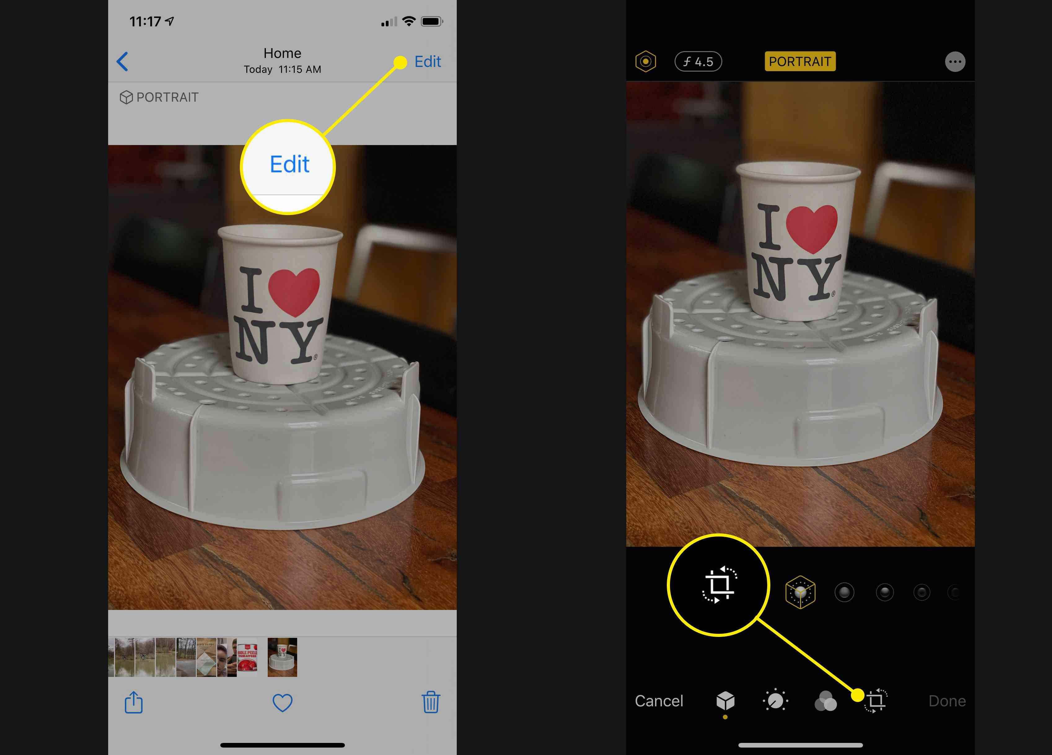 Edit and Crop buttons in iOS Photos