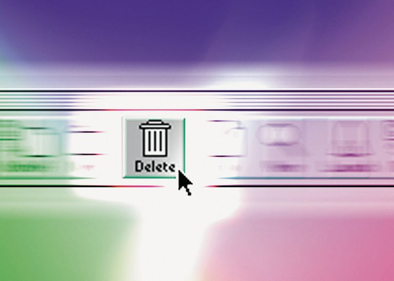 Close up of a delete icon or trash can with a cursor over it